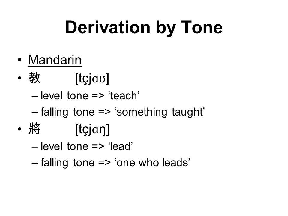 Derivation by Tone Mandarin 教 [tçjɑʊ] 將 [tçjɑŋ]